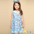 Azio 女童 洋裝 滿版彩色白雲印花白色圓領無袖洋裝(藍) Azio Kids 美國派 童裝