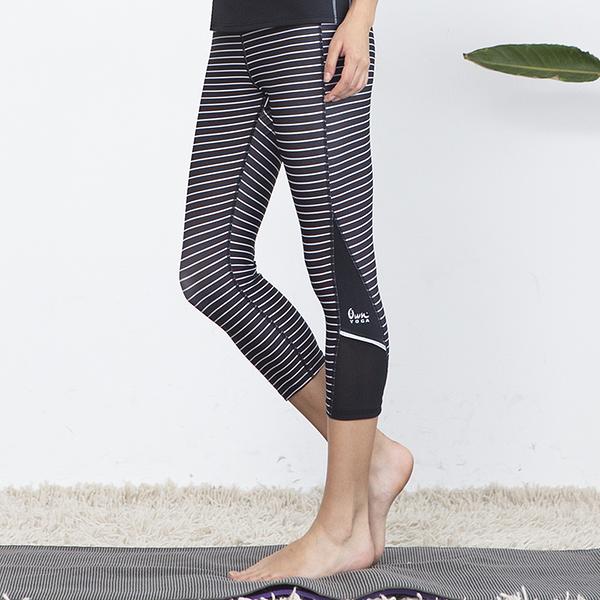 *╮寶琦華Bourdance╭*專業瑜珈韻律芭蕾☆OWN Yoga 條紋七分褲【Y18278】
