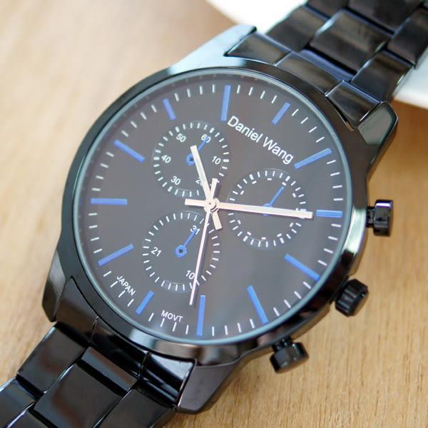 Daniel Wang 3136-IP 霸氣大錶面經典仿三眼石英黑框金屬男錶 - 黑面藍針