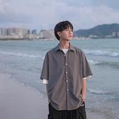 禾子先生夏季純色百搭男士短袖襯衫韓版寬鬆簡單翻領襯衣學生上衣 夏季新品