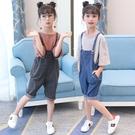 女童吊帶褲 女童夏裝套裝洋氣大童裝女孩夏季兒童牛仔吊帶短褲兩件套-Ballet朵朵