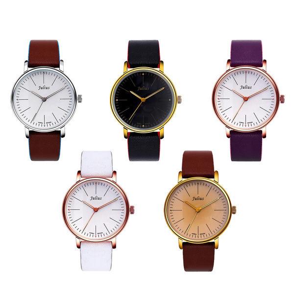 JULIUS 聚利時 早安地中海簡約大鏡面皮帶腕錶-白×紫/40mm 【JA-814MC】