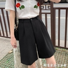 黑色西裝五分褲女夏高腰顯瘦垂感新款寬鬆小...