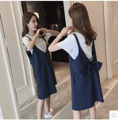 2017夏裝新款寬松短袖背帶孕婦連衣裙套裝YY1970『毛菇小象』