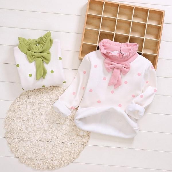 高領長袖上衣 粉色點點 不倒絨長袖T恤 蝴蝶結 兒童保暖上衣 童裝 SG088 好娃娃