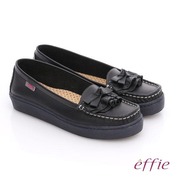 effie 縫線包仔鞋 真皮手工縫線花褶奈米平底鞋  黑