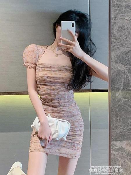 碎花洋裝 夏季氣質新款法式復古赫本泡泡短袖連身裙小眾碎花短袖方領短裙女 萊俐亞