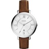 FOSSIL Jacqueline 羅馬風采時尚腕錶/手錶-銀x咖啡/36mm ES3708
