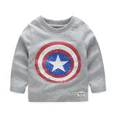 男Baby男童長袖T恤純棉美國隊長灰色上衣 現貨