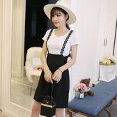 中大尺碼 吊帶短褲新款韓版時尚顯瘦高腰吊帶褲LJ8337『夢幻家居』