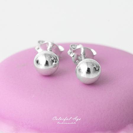 925純銀耳針耳環 亮眼銀珠設計5mm/7mm耳環 簡單俐落 抗過敏 柒彩年代【NPD18】一對價格