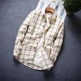 秋季男生青少年中學生休閒襯衣修身潮13-16歲穿長袖襯衫格子外套【七九折促銷沖銷量】