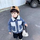男童加絨外套寶寶冬裝加厚小童2019新款秋冬羊羔毛兒童牛仔棉服男-ifashion