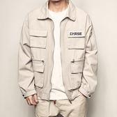 夾克 秋季新款個性大口袋復古工裝夾克男美式休閒水洗翻領帥氣外套