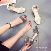 高跟涼鞋女夏季chic百搭細跟性感羅馬鞋復古港味女鞋可可鞋櫃