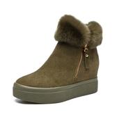 短靴女 雪地靴 靴子女冬季新款兔毛增高防滑保暖女靴子百搭女休閒平底靴《小師妹》sm3097