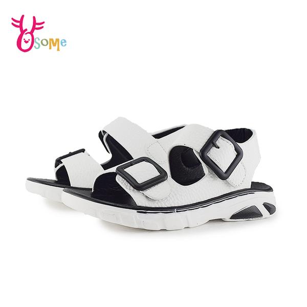 精品童涼鞋 中童 韓風穿搭 舒適皮面 運動彈性大底 J6338#白色◆OSOME奧森鞋業