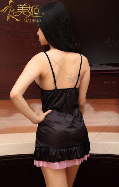 ♥♥衣美姬♥柔情綻放!浪漫柔緞V領睡衣 細肩帶火辣 透視遊戲服 麻豆性感攝影服裝