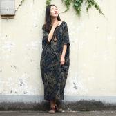 短袖洋裝 圖騰 做舊 棉麻 民族風 短袖洋裝 連身裙【CM083】 BOBI  10/26