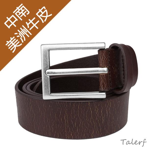 TALERF龜裂皮紋單層皮帶(咖啡色/共2色)-男 /真皮 牛皮/台灣製造