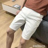 白色牛仔短褲男彈力破洞五分褲青少年韓版修身潮大碼黑色 〖雙十一預熱瘋狂購〗