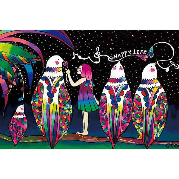 綺麗派 時尚無框畫 油畫 複製畫 木框 畫布 掛畫 居家裝飾 壁飾【彩色鳥】
