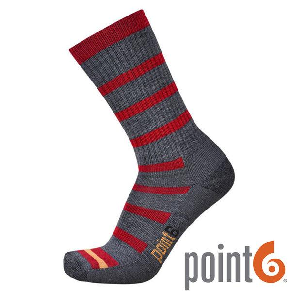 【POINT 6 美國】firecracker light 健行輕量中筒羊毛襪 『灰/紅』22611729 露營|休閒|保暖襪|羊毛
