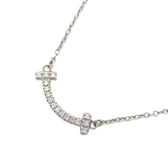 Tiffany & Co 蒂芬妮 18K白金T Smile鑲鑽墜飾純銀項鍊 18k White Gold【BRAND OFF】