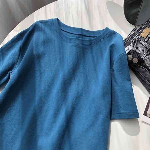現貨 圓領純棉短袖上衣T恤棉T韓版【83-11-8591-21】ibella 艾貝拉