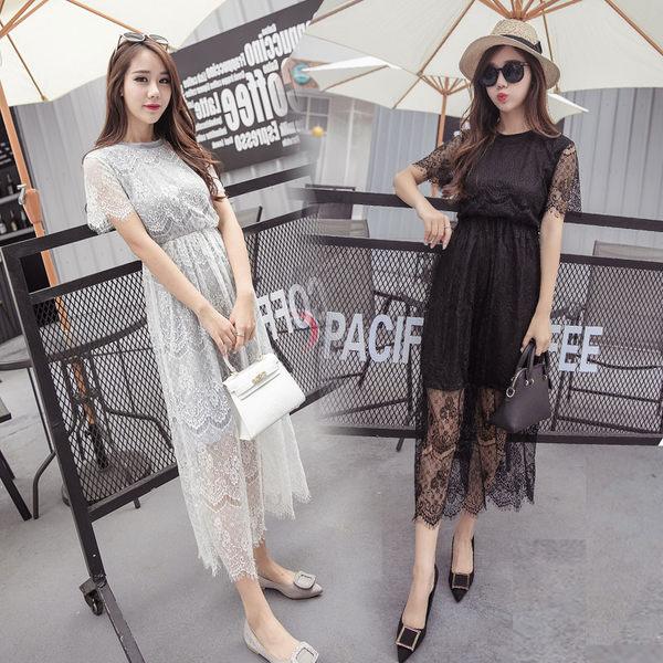 蕾絲 長款 短袖 假兩件套裙 DK STORE