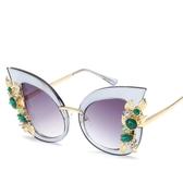 鑲鉆鏡框時尚貓眼太陽鏡 大框墨鏡 太陽眼鏡【五巷六號】y55