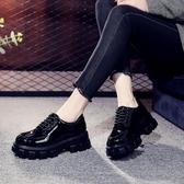 英倫風小皮鞋女新款真皮女鞋黑色厚底女士百搭鬆糕鞋繫帶漆皮單鞋【朵拉朵YC】