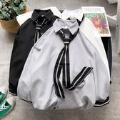 長袖襯衫 正韓韓國復古風寬鬆領帶襯衫 潮人男女 紳士簡約純色長袖襯衣【快速出貨八折下殺】