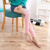 女襪子 襪套 運動襪套 日系秋冬精梳棉保暖三條杠空調房護膝護腿襪子【多多鞋包店】ps1568