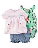 3件組肩帶連身裙+包屁褲套裝組: 粉色條紋: 121H111