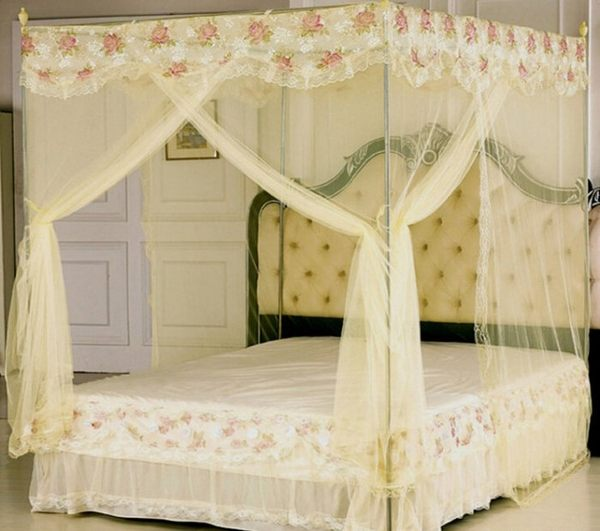 蚊帳睡簾 5英尺床 三開門落地不銹鋼加粗支架+蚊帳【潮咖範兒】