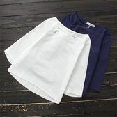 夏新款民族風女裝上衣棉麻七分袖亞麻短袖寬鬆百搭盤扣T恤女 米娜小鋪