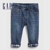 Gap嬰兒 時尚水洗寬鬆鬆緊牛仔褲 599849-藍色