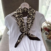 年豹紋時尚小絲巾圍巾女冬季百搭裝飾領巾歐美小方巾 koko時裝店
