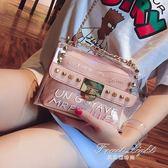 果凍包 ins超火小包包女夏天潮百搭韓版透明果凍錬條單肩斜背包 果果輕時尚