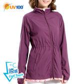 UV100 防曬 抗UV-涼感長版修身立領外套-女