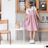 《DA7720》高含棉U領可調式吊帶寬版娃娃洋裝 OrangeBear
