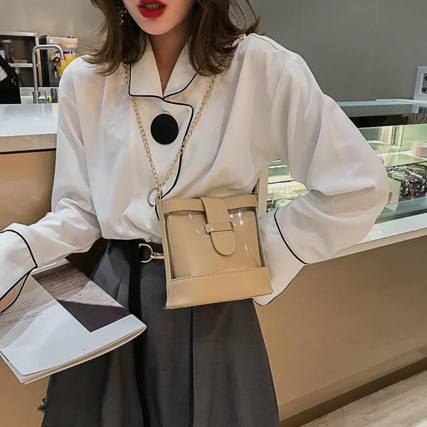 側背包 小包包女2020新款潮洋氣百搭水桶包時尚透明鏈條單肩包斜挎包