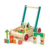 【美國Tender Leaf Toys】繽紛積木學步車(嬰幼兒助步推車-附29塊積木拼圖)