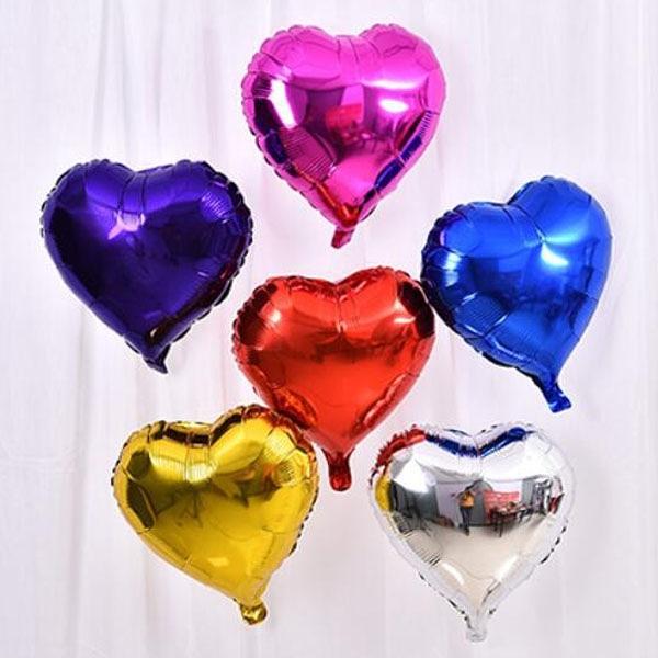 【BlueCat】閃亮單色愛心鋁膜氣球 求婚 情人節