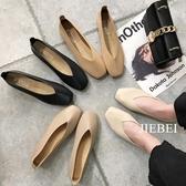 單鞋夏新款方頭復古奶奶鞋平底軟底鞋