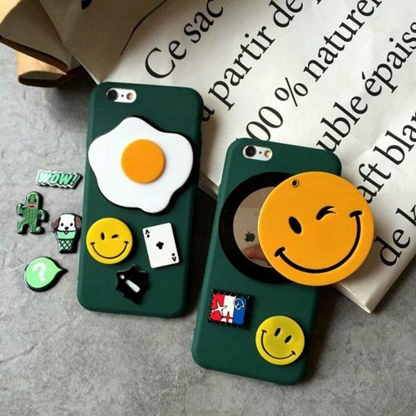 iPhone手機殼 韓國東大門代購 軍綠底 笑臉雞蛋鏡子 磨砂硬殼全包 蘋果iPhone7/iPhone6手機殼