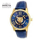 【INVICTA】紳士機械腕錶 42mm-藍金色