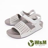 【南紡購物中心】W&M (女) 鏤空厚底彈力涼鞋 女鞋 -灰(另有白)