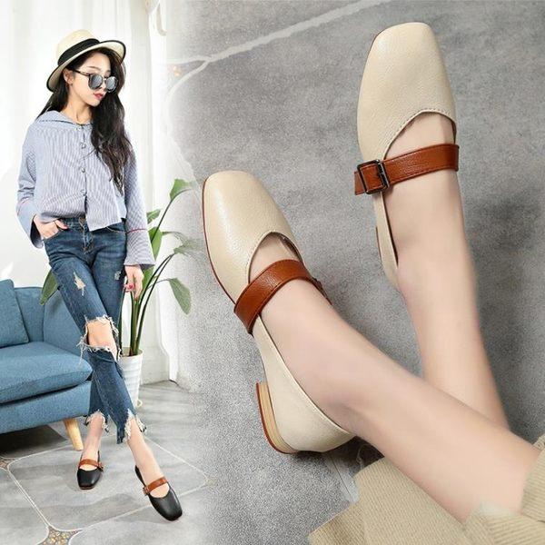 秋冬季韓版粗跟淺口奶奶鞋女百搭復古方頭單鞋毛毛鞋休閒女鞋     韓小姐の衣櫥